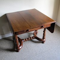 FRENCH WALNUT DROP FLAP DINING TABLE