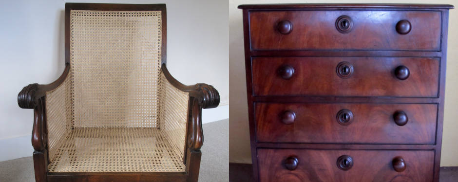 Antique chair and chest of drawers